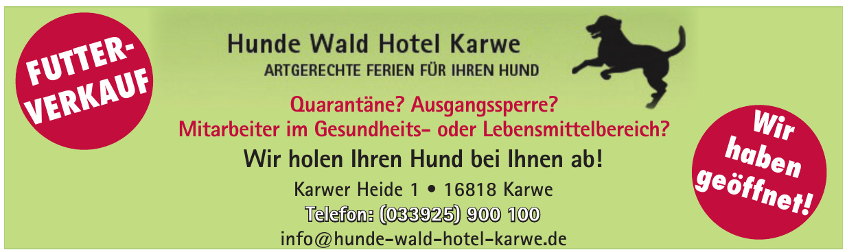 Hunde Wald Hotel Karwe