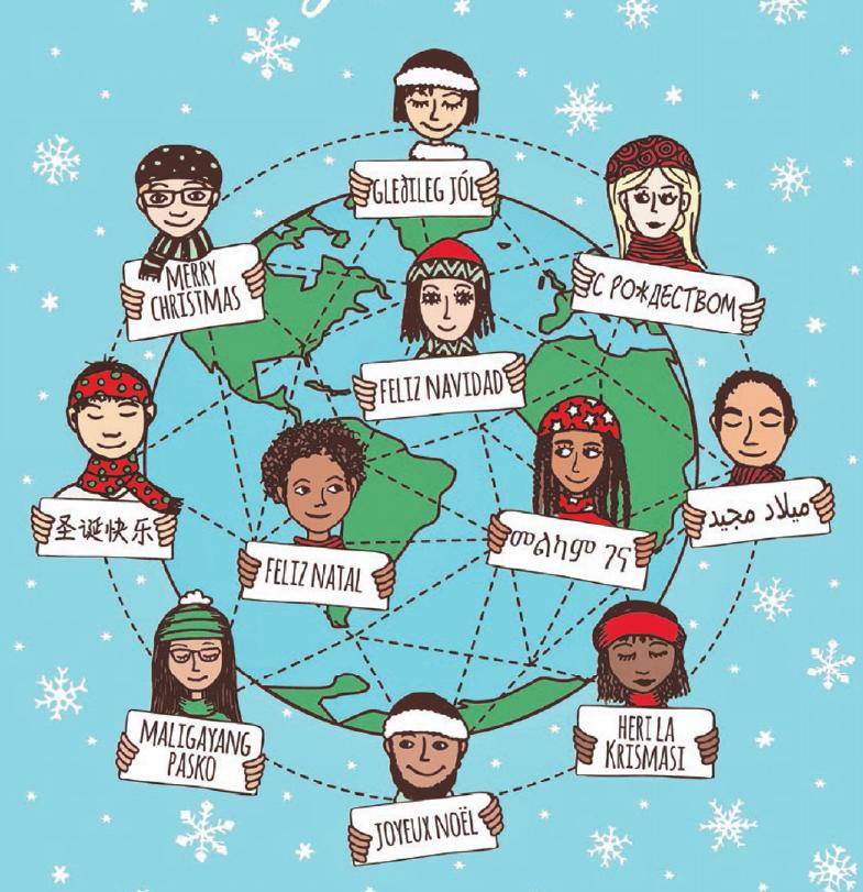 """Die Welt wünscht """"Frohe Weihnachten"""". Grafik: franzidraws/Fotolia.com"""