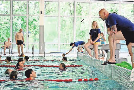 Heimspiel im Aqua-Schwimmbad Hennigsdorf.
