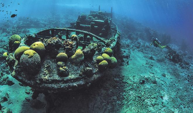 Auch gesunkene Schiffe können ein schönes Motiv bilden. Bild: Peter Schultes UW-PIC.de