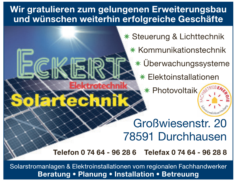 Eckert Elektrotechnik Solartechnik