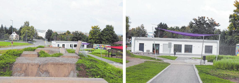 Der neue Jugendtreff ist ein simpler Flachbau auf 185 Quadratmetern, unter bunten Sonnensegeln gibt es Platz zum gemütlichen Beisammensitzen FOTOS: ANITA EHLERT