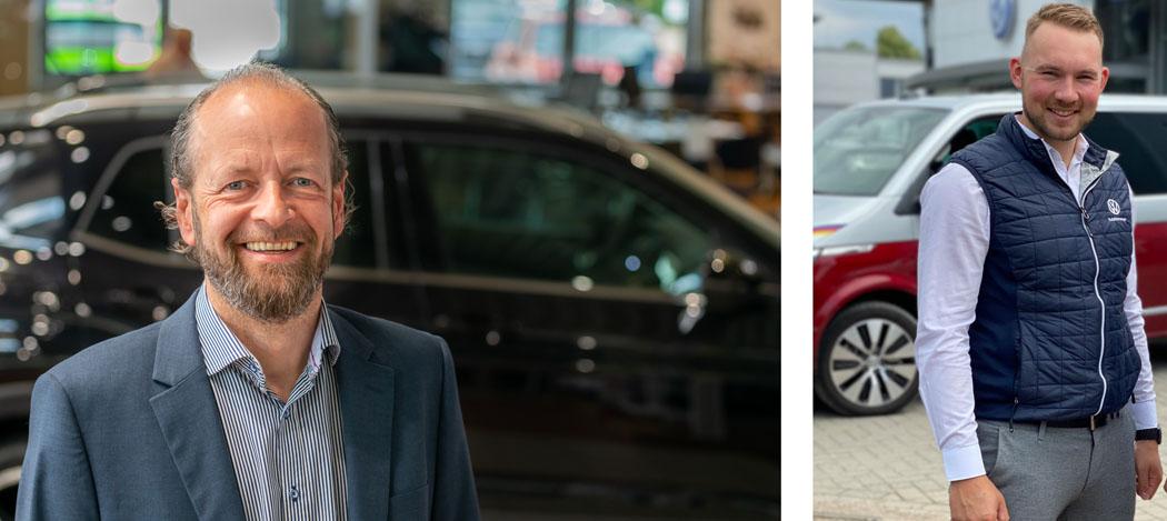 Sie sind im Autohaus Brandt Ansprechpartner für alle Belange in Sachen Volkswagen Nutzfahrzeuge Fiete Reitzner (r.) und Heiko Kloka