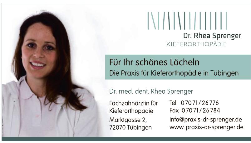 Fachzahnärztin für Kieferorthopädie Dr. med. dent. Rhea Sprenger