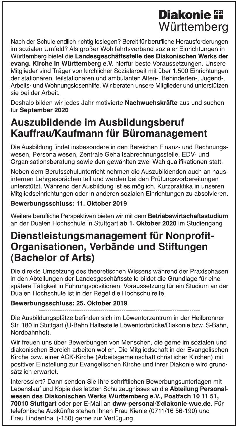 Diakonischen Werks Württemberg e.V.