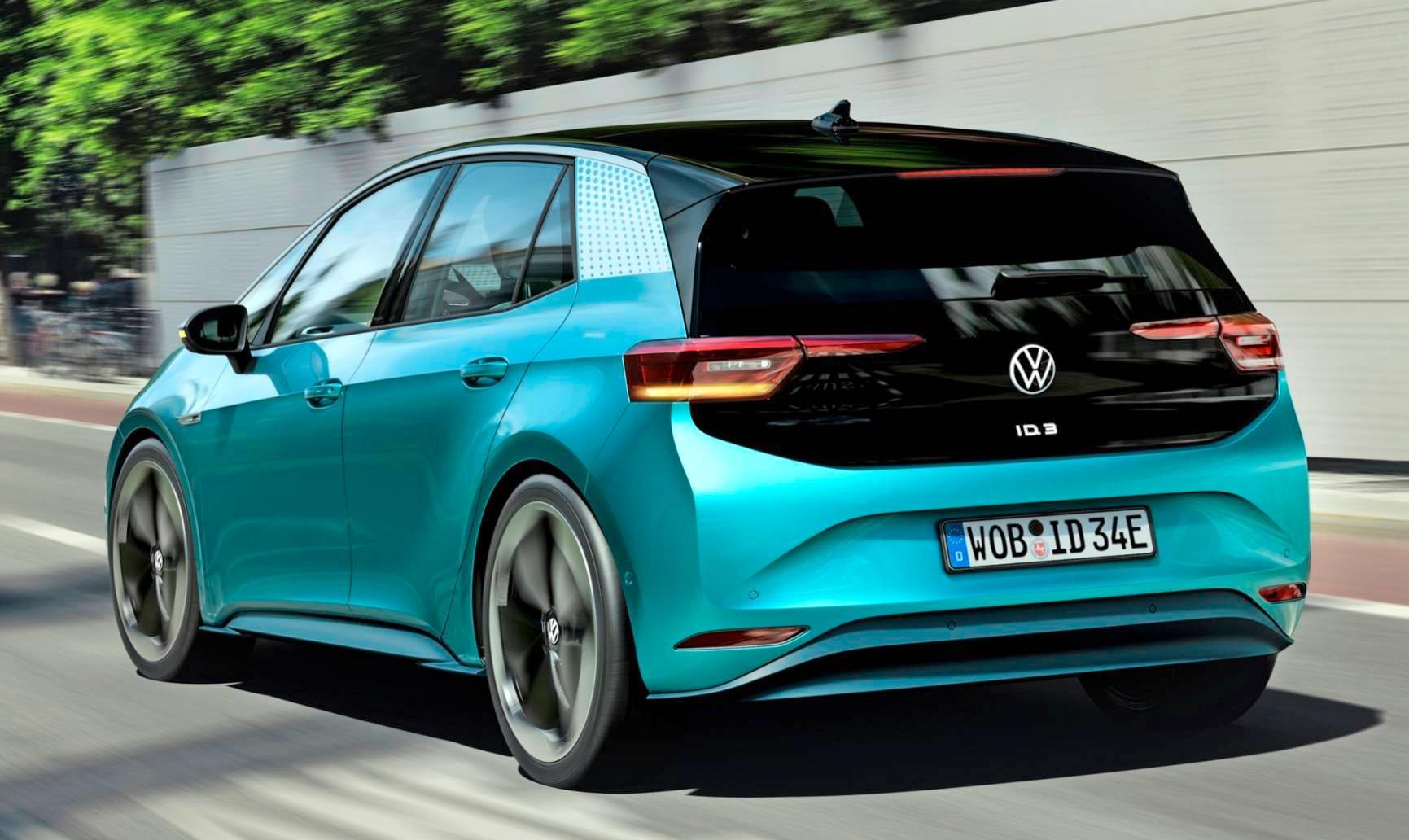 Der ID.3 startet mit einem 150 kW/204 PS starken Elektromotor und drei Batteriegrößen. Das Basismodell, das für unter 30000 Euro angeboten werden soll, kommt 330 Kilometer weit. Fotos: Volkswagen
