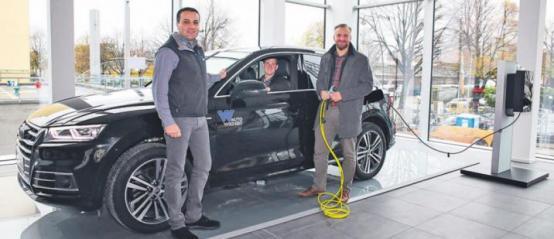Team Wichert (v. l. n. r.): Besim Deger (Kundendienstberater), Julian Krenz (Audi Werkstattleiter) und Michell Dilewsky (Beauftragter für alternative Antriebe)