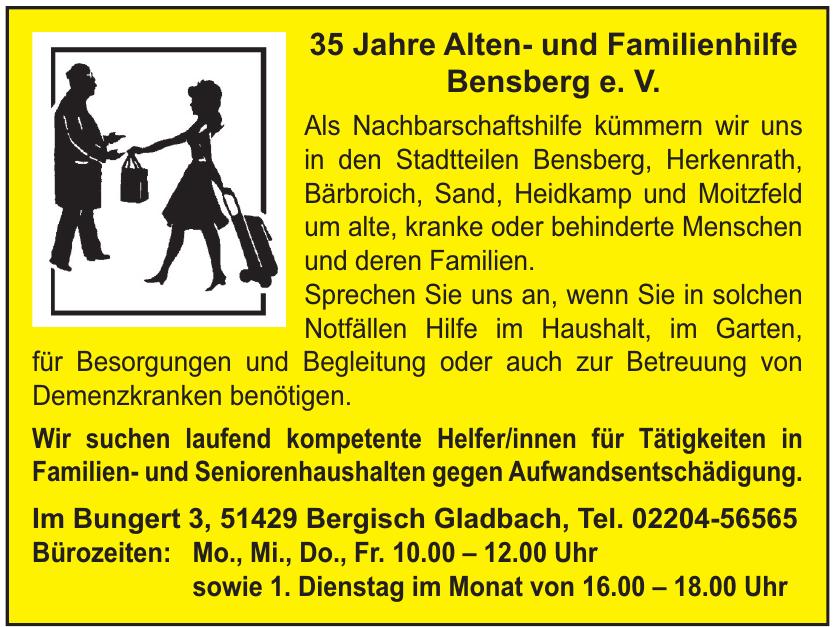 35 Jahre Alten- und Familienhilfe Bensberg e. V.