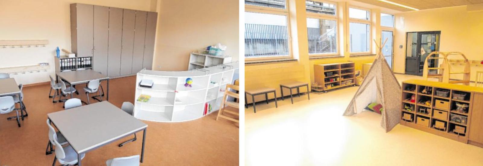 In der neu gestalteten Kindertagesstätte können Kinder toben, malen und ausruhen. Hier ist Platz für den Kindergarten und die Kinderkrippe.