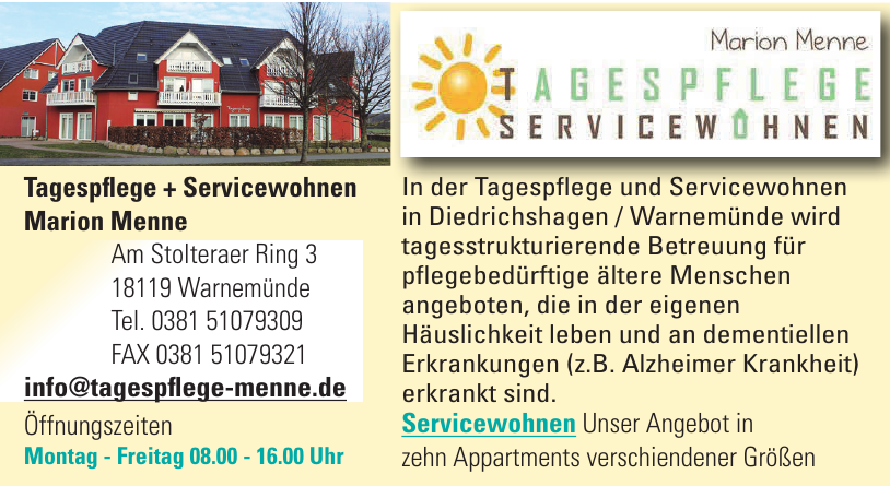 Tagespflege - Servicewohnen Marion Menne