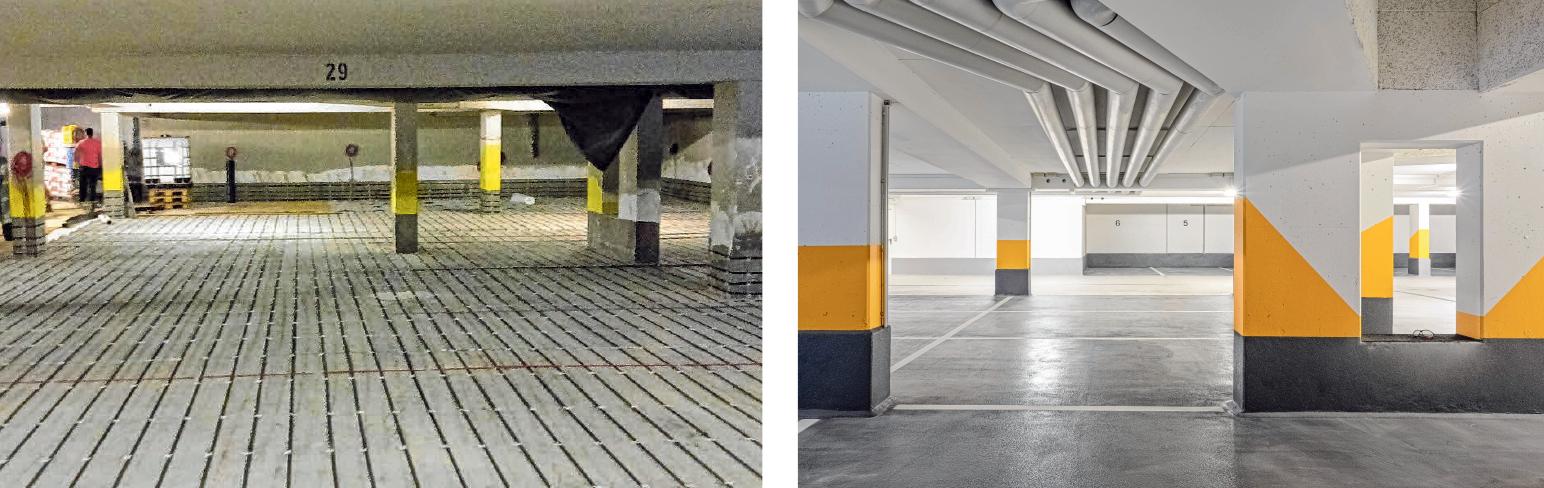 Die Tiefgarage in Laupheim wurde komplett saniert. Die Planung und Bauüberwachung erfolgte durch die Muhsau Kindl IG.