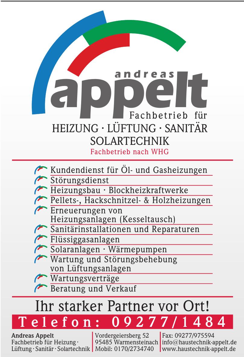 Andreas Appelt Fachbetrieb für Heizung · Lüftung · Sanitär · Solartechnik