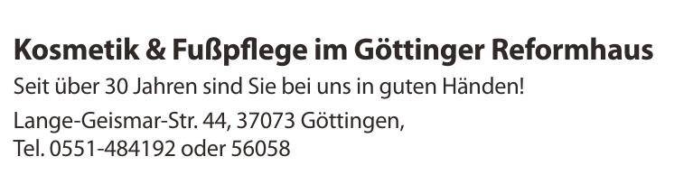 Kosmetik & Fußpflege im Göttinger Reformhaus