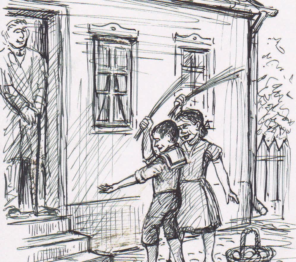 Beim Pietschen zogen Kinder mit Birkenruten los, um bei Verwandten auf Ostereiersuche zu gehen.