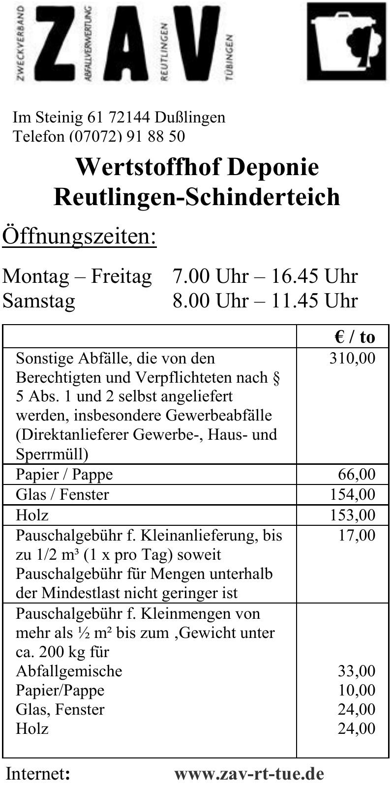 ZAV Zweckverband Abfallverwertung Reutlingen Tübingen