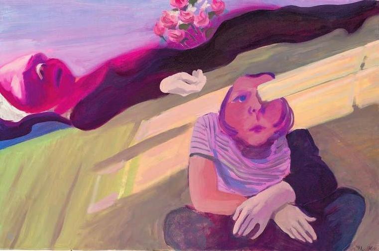 """Balken im Auge/Trauernde Hände (1964, Öl auf Leinwand, 77 x 115 cm). Dieses Bild von Maria Lassnig (1919-2014) ist ab Mitte Februar in der Hamburger Kunsthalle in der Ausstellung """"Trauern. Von Verlust und Veränderung"""" zu sehen. Bild: Maria Lassnig Stiftung/VG Bild-Kunst, Bonn 2019"""