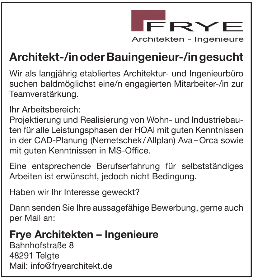Frye Architekten – Ingenieure