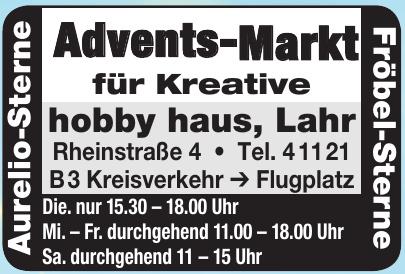 Advents-Markt für Kreative hobby haus, Lahr