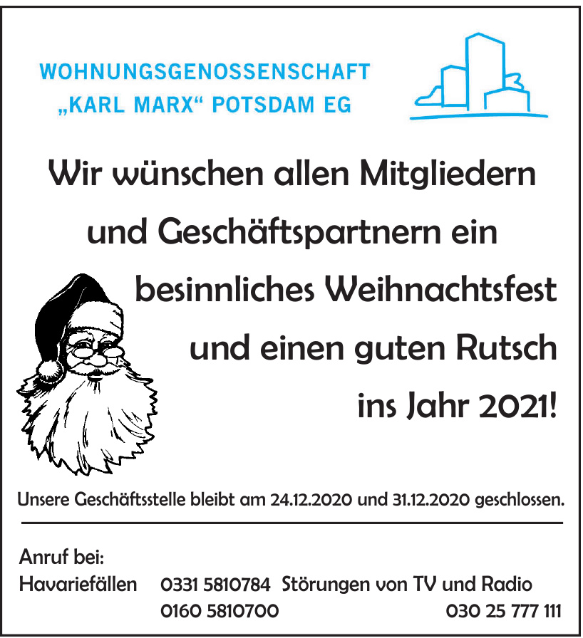 """Wohnungsgenossenschaft """"Karl Marx"""" Potsdam eG"""