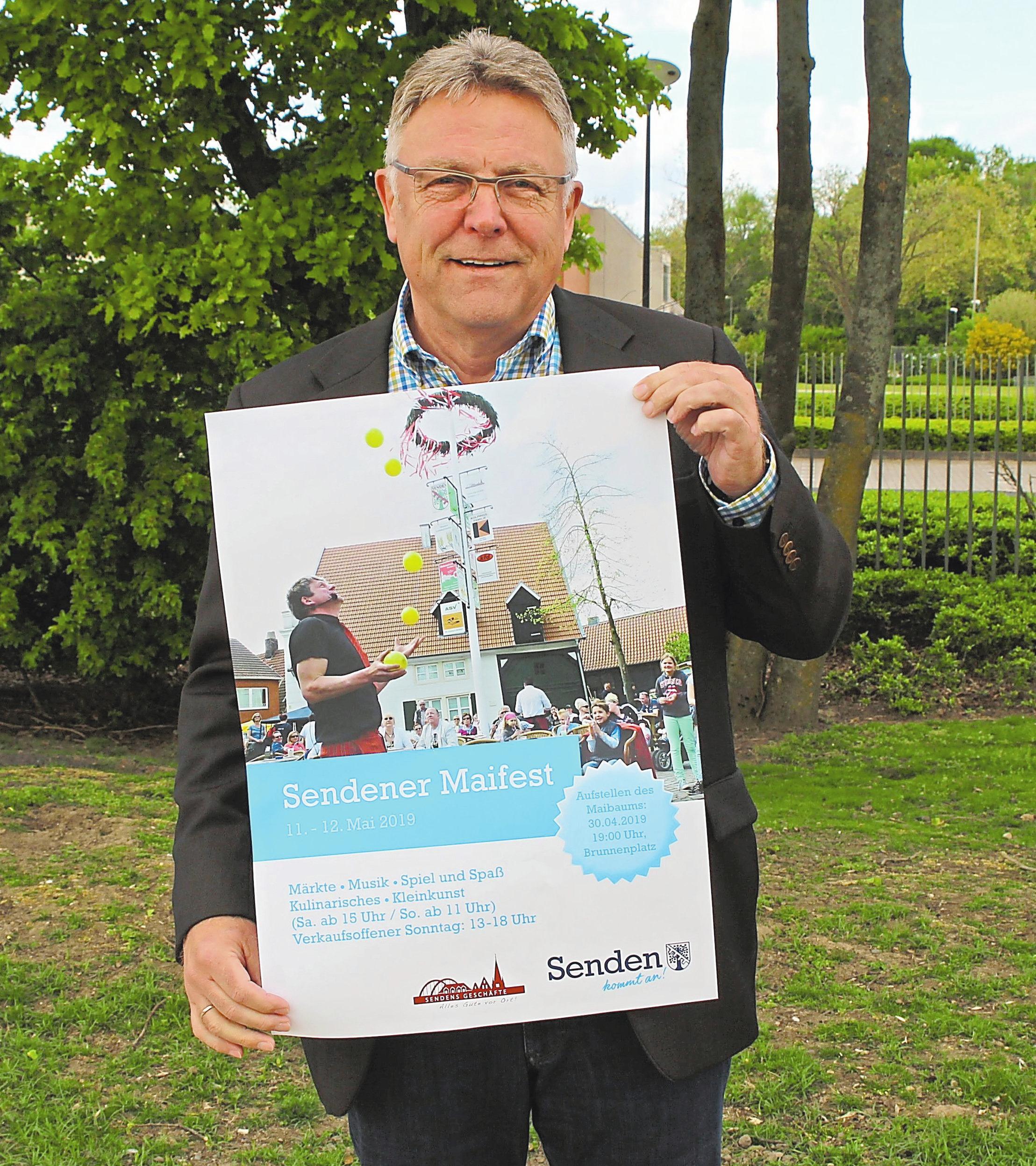 Über 50 Stände wird es im Sendener Gemeindekern geben, freut sich der Vorsitzende des Gewerbevereins, Manfred Tiemann. Foto: krif