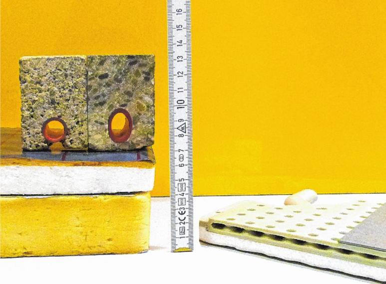 Eine WEBER-Empfehlung: Das moderne Fußbodenheizungs-System (rechts) misst nur zwei Zentimeter Einbauhöhe. Es kann nachträglich in Altbauten installiert werden. Links: eine sonst übliche Fußbodenheizung mit einer Einbauhöhe von mehr als 15 Zentimetern!