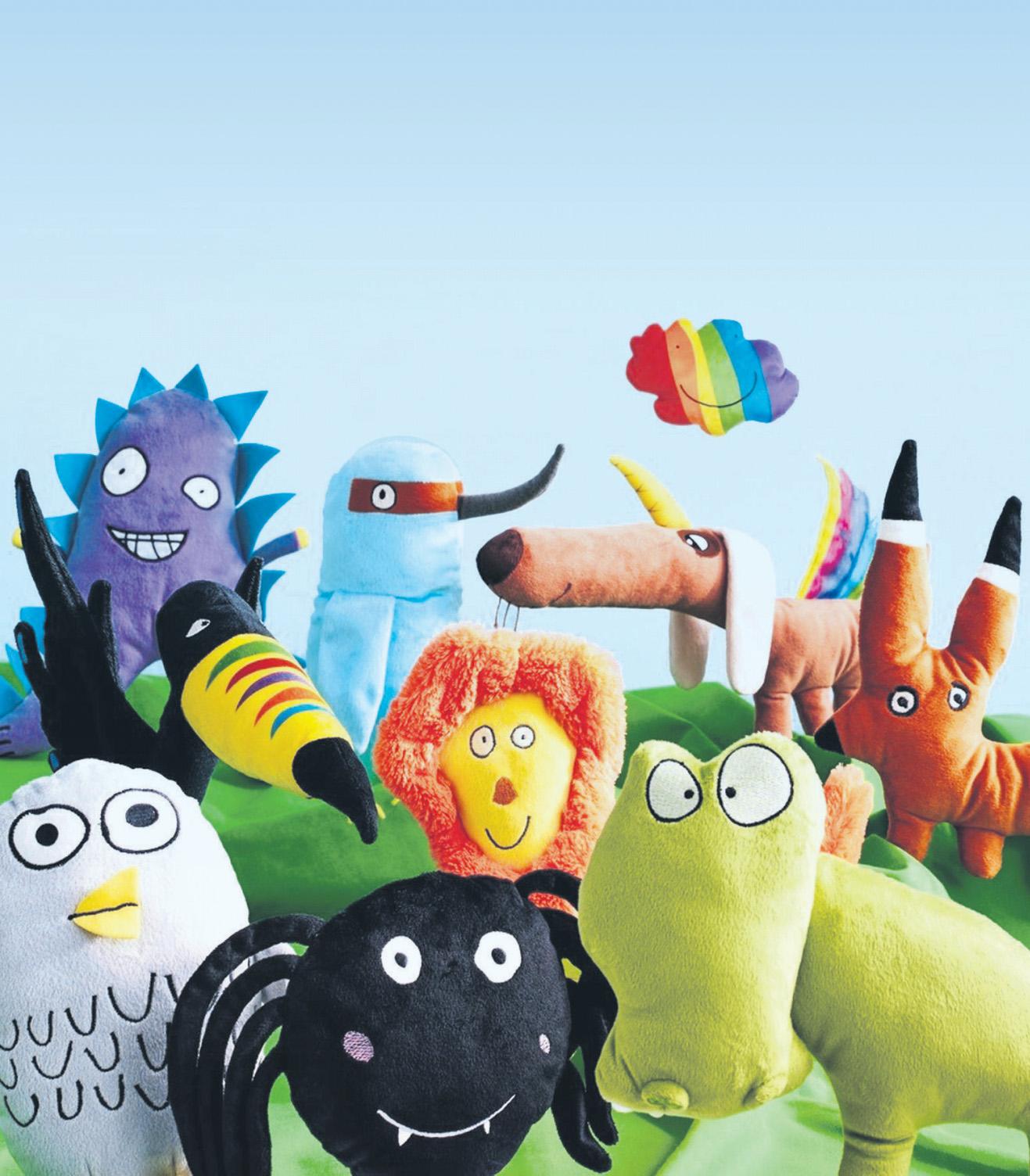 """Kunterbunte Kumpels. Die lustigen Gesellen der """"Sagoskatt""""-Serie von Ikea entstehen seit 2015 bei einem jährlichen Malwettbewerb für Kinder. Den Erlös aus ihrem Verkauf bekommt Save the Children."""