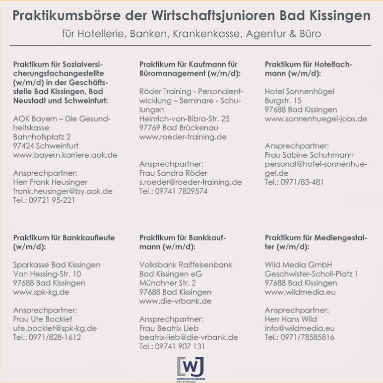 Praktikumsbörse der Wirtschaftsjunioren Bad Kissingen