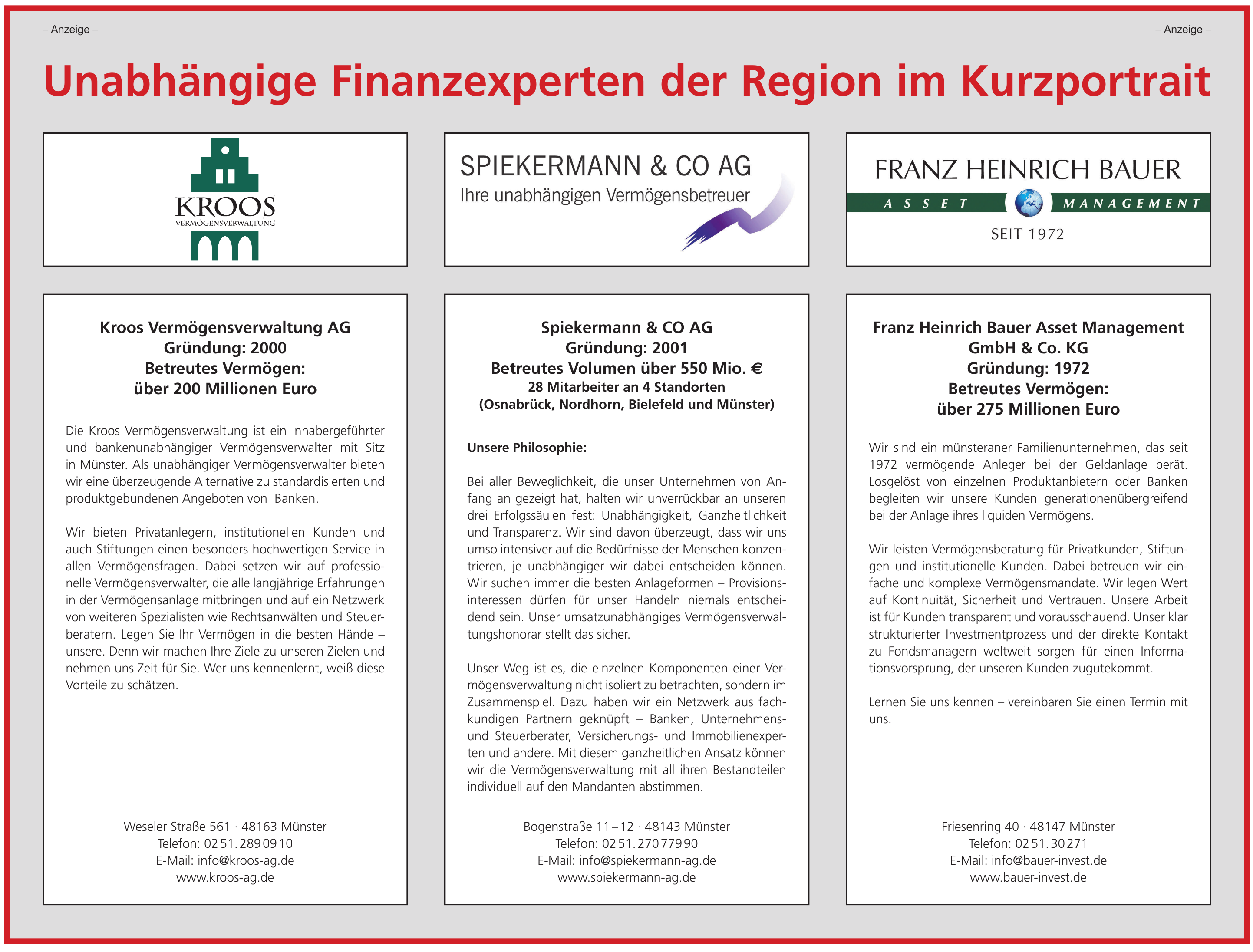 Unabhängige Finanzexperten der Region im Kurzportrait