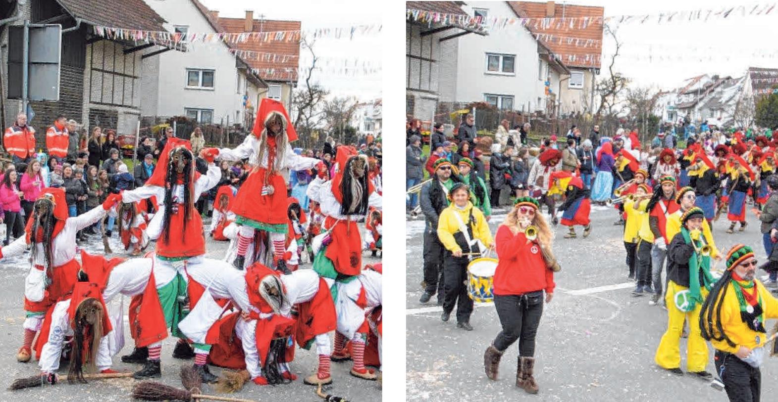 Beim Narrensprung in Äpfingen wird den Zuschauern und Fasnetsbegeisterten viel geboten. FOTOS: GERHARD RUNDEL