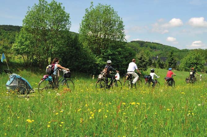 Ob spannende Erlebnisse auf Burg Windeck (oben) oder eine Radtour durch die Siegauen – für Familien hat die Region viel zu bieten. Foto: Delia Sedlmeier / Naturregion Sieg