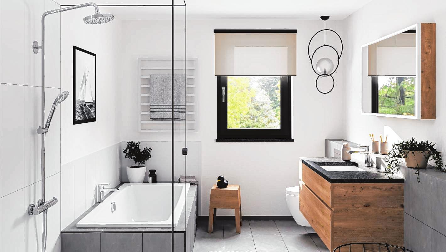 Auch auf wenig Raum lassen sich Badezimmer mit Spa-Gefühl gestalten. Dazu tragen Accessoires und Wandbilder bei.