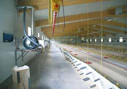 Blick in den Stall. Auf der linken Seite hängt die Heizkanone. Fotos: Götz