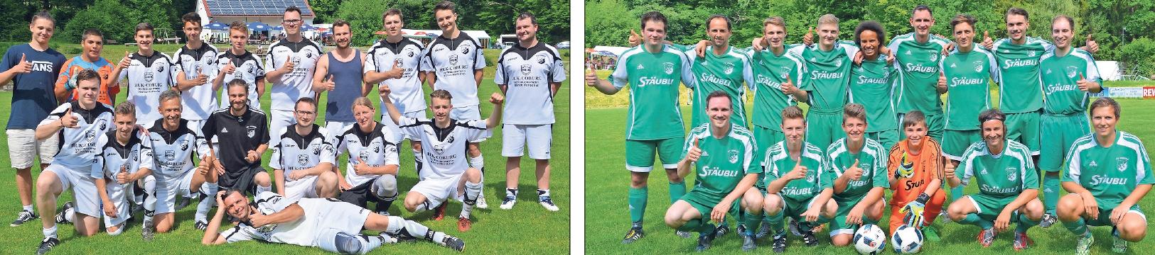 Sie bestreiten alljährlich das traditionelle Kerwaspiel: Trifftnix Donndorf (links) gegen Konnix Eckersdorf (rechts)