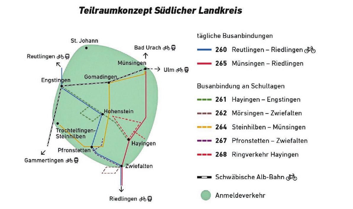 Mit den neuen Strecken ergibt sich eine deutliche Verbesserung des öffentlichen Nahverkehr auf der südlichen Alb im Kreis Reutlingen. Grafik: ©Landratsamt