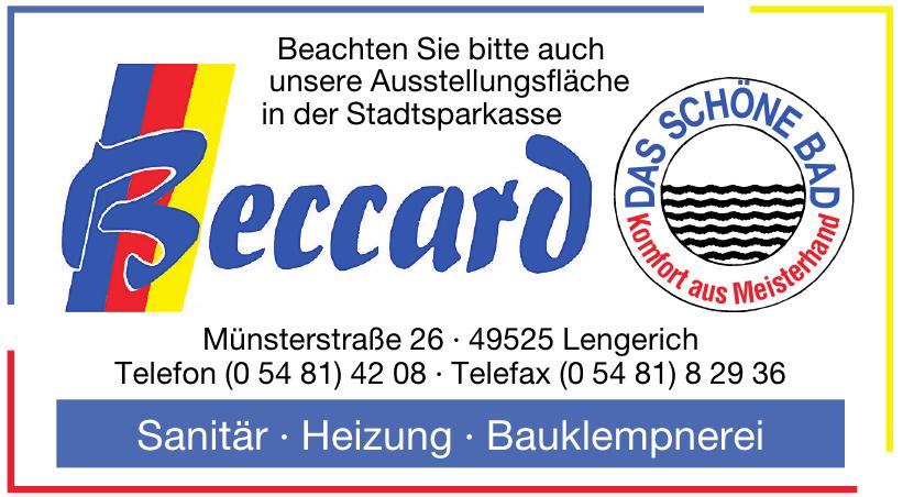 Beccard Sanitär, Heizung, Bauklempnerei
