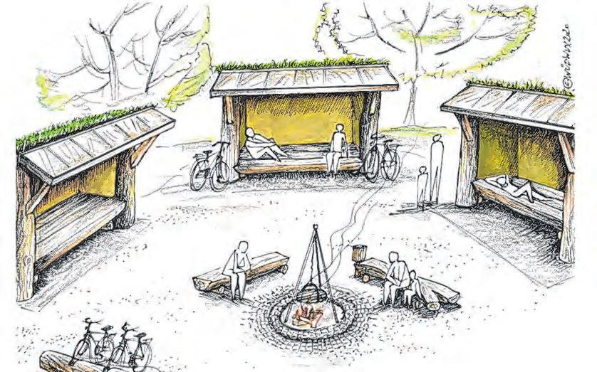 Die alten Bahnwartehäuschen werden mit viel Holz zu gemütlichen Rastplätzen umgestaltet. Skizze: WÜDWUX