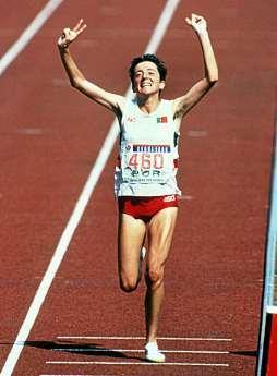 Die Portugiesin Rosa Mota, Siegerin im Marathon der Frauen bei den Olympischen Spielen von Seoul, 1988. FOTO: EPA / DPA