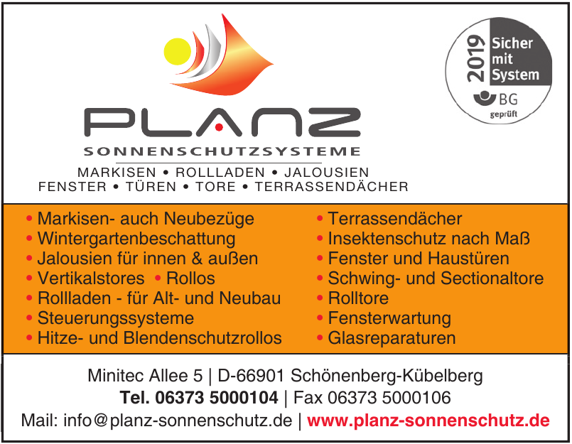 Planz Sonnenschutzsysteme
