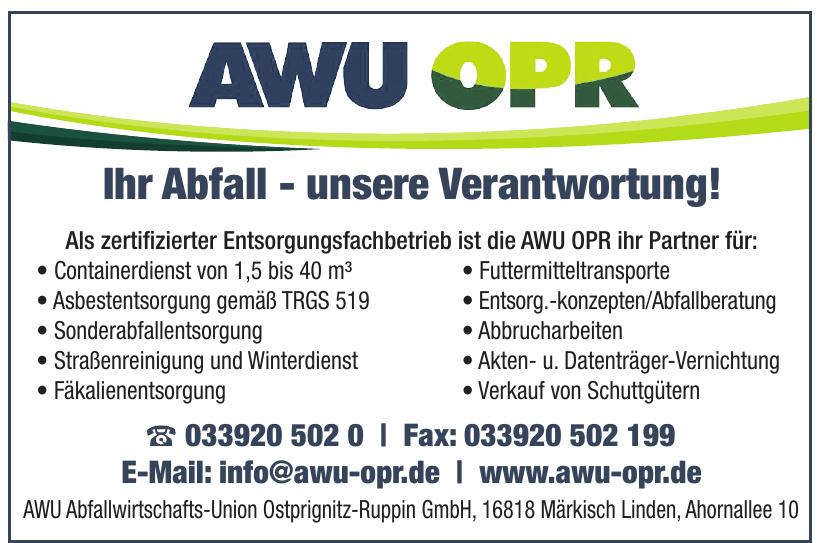 AWU OPR Abfallwirtschafts-Union Ostprignitz-Ruppin GmbH