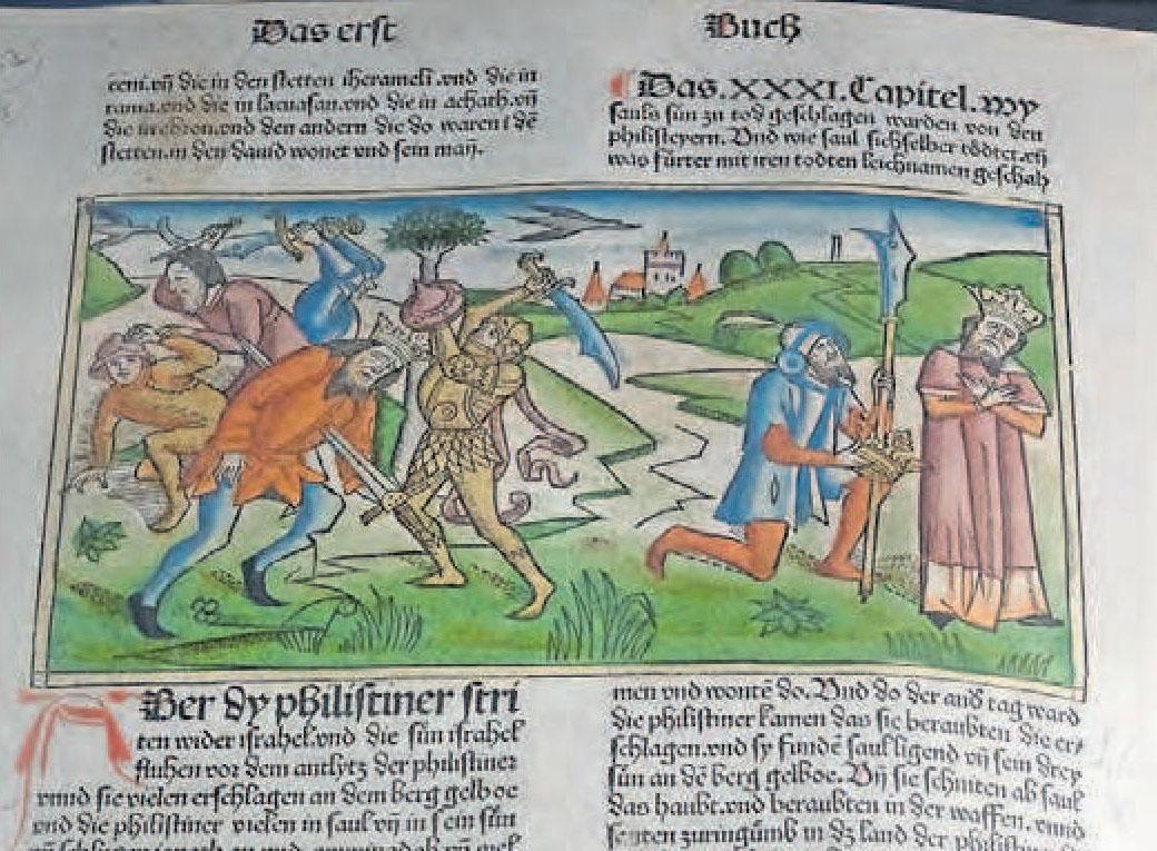 Schöne Schrift und plastische Holzschnitte: vorlutherische deutsche Bibel, 1483 von Anton Koberger in Nürnberg gedruckt.