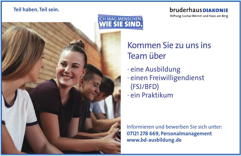 BruderhausDiakonie, Stiftung Gustav Werner und Haus am Berg
