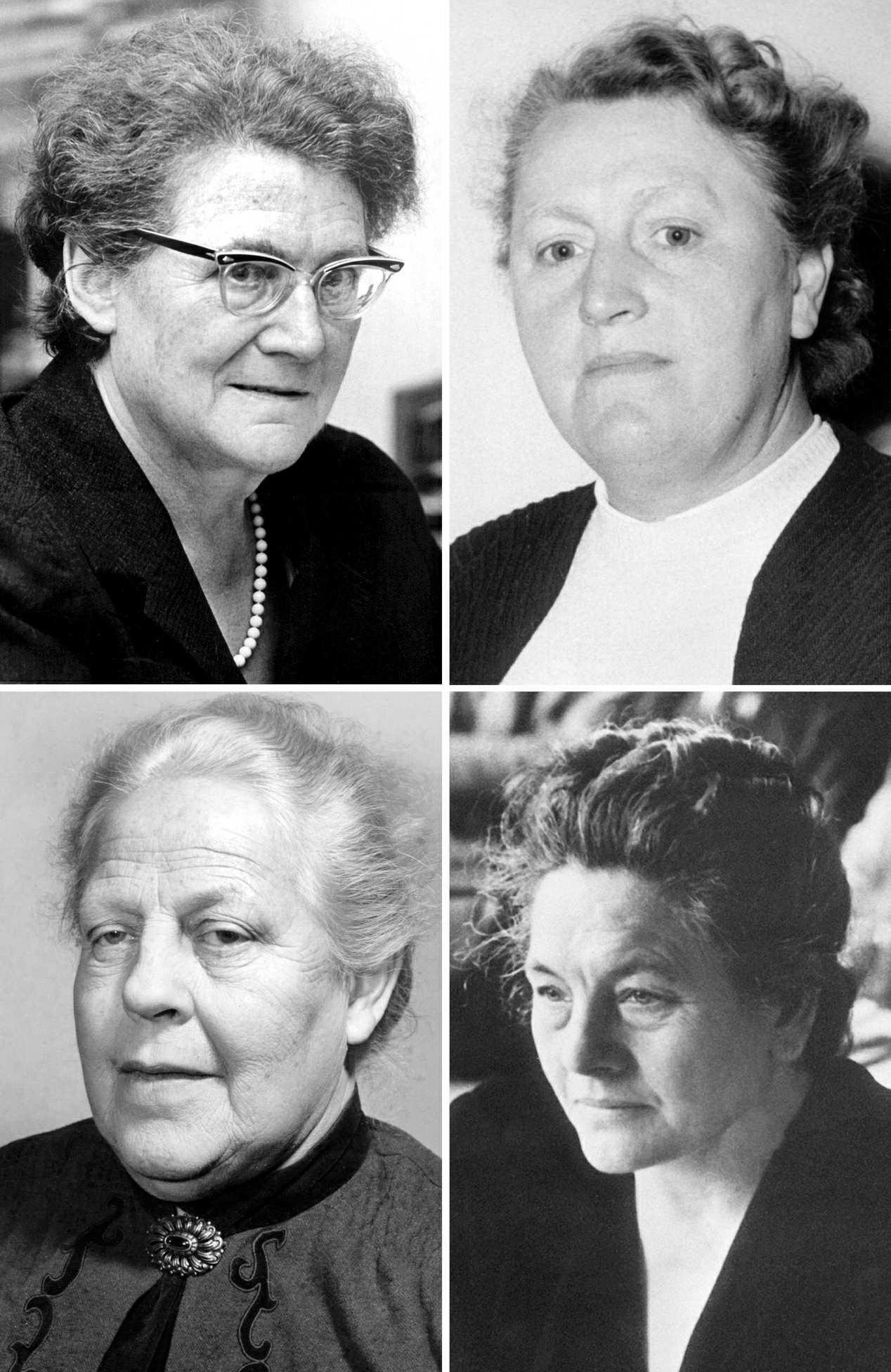 Ohne sie gäbe es die im Grundgesetz verankerte Gleichberechtigung von Männern und Frauen nicht: Helene Wessel (oben links, 04.07.1968), Elisabeth Selbert (oben rechts, 1953), Helene Weber (unten links, 08.03.1956), Frieda Nadig (unten rechts, undatiert).Foto: dpa