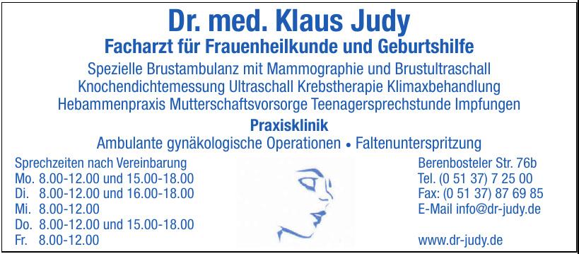 Dr. med. Klaus Judy - Facharzt für Frauenheilkunde und Geburtshilfe