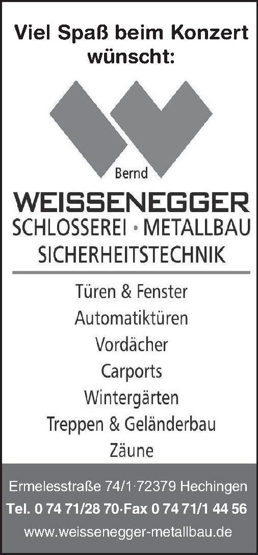 Bernd Weissenegger Schlosserei Metallbau Sicherheitstechnik