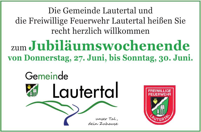 Jubiläumswochenende  - Die Gemeinde Lautertal und die Freiwillige Feuerwehr Lautertal