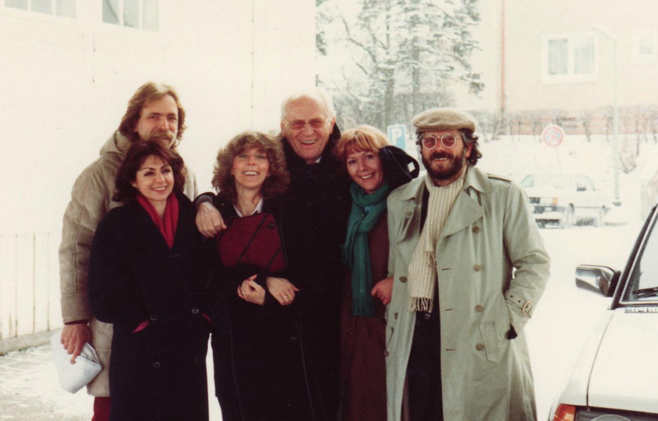Empfang am Bahnhof Ringelheim im August 1986: Gabriele Beßler, Paul Beßler, Christel Geisser, Gert Fröbe, Gabriele Pozzato, Wolfgang Pozzato.