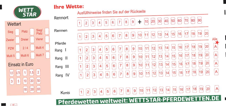 Auf den Wettschein werden die entsprechenden Arten und Einsätze angekreuzt Bild: Kincsem Grafik
