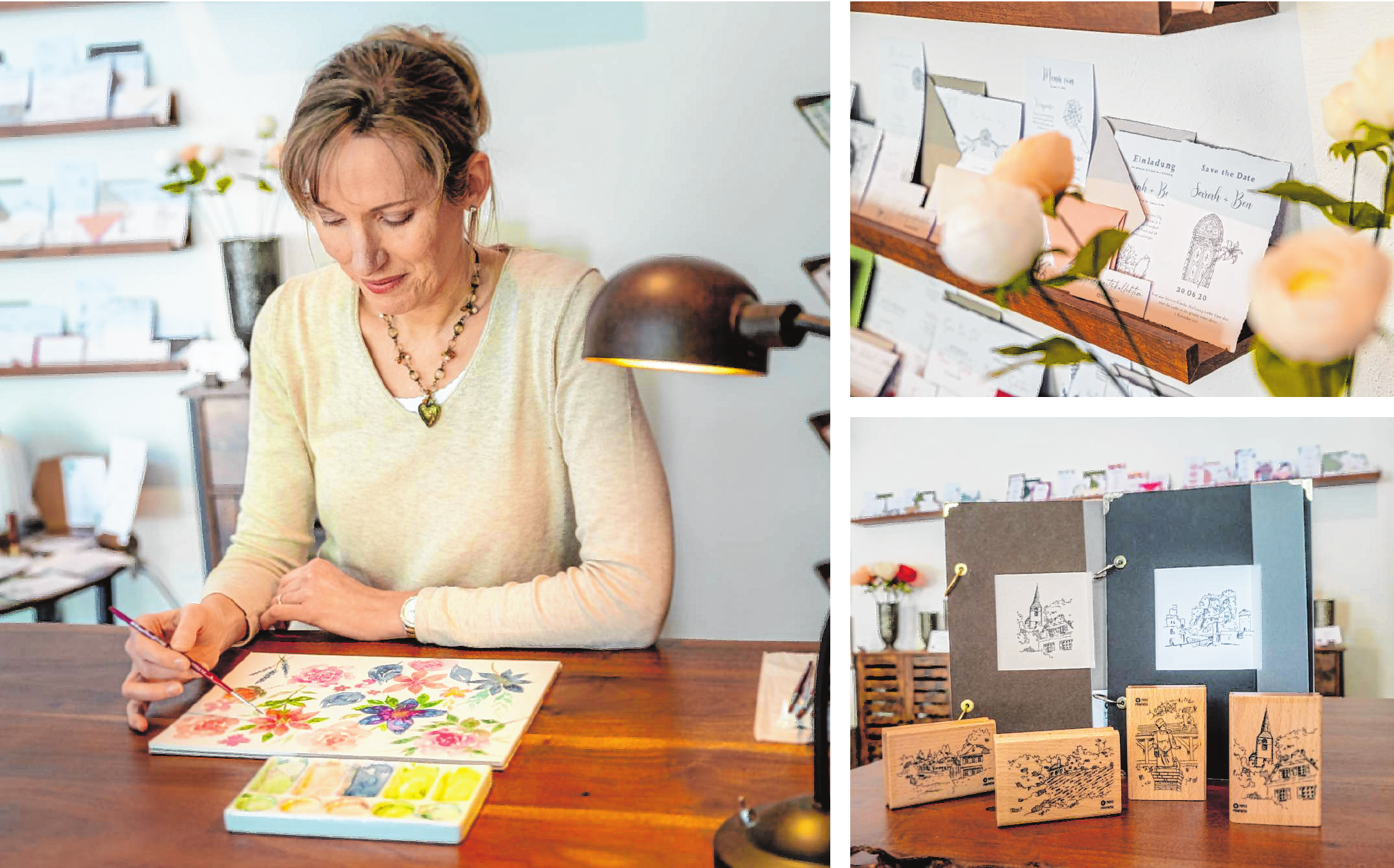 """Für Alexandra Enders ist die """"Papiermanufaktur"""" in der Weidgasse auch gleichzeitig Werkstatt. Hier zeichnet sie oder entwirft neue Motive – für ihre Karten, Stempel oder Hochzeitspapeterie. Bilder: Thomas Neu"""