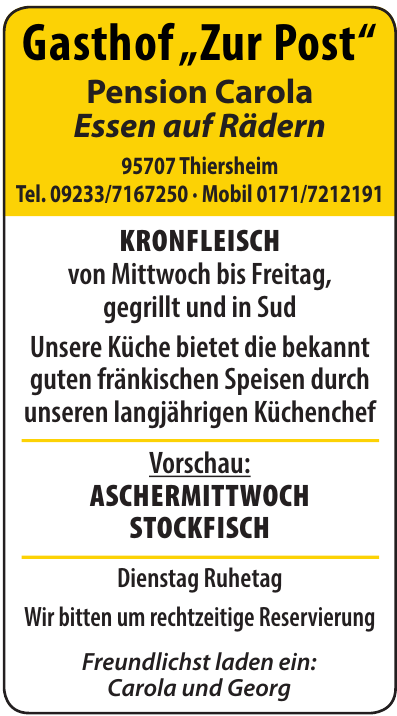 "Gasthof ""Zur Post"" - Pension Carola"
