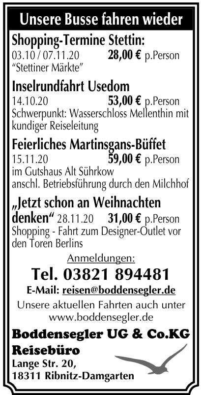Boddensegler UG & Co. KG Reisebüro